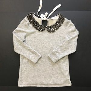 Anthropology Top Blouse beaded neckline size XS